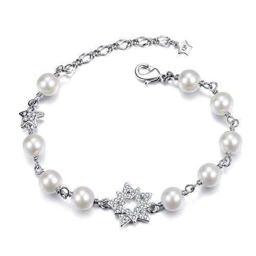 STAR SANDS Bracciale Stella Galaxy -8 millimetri Shell Pearls -rodio placcato