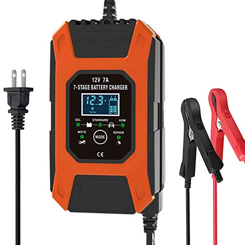 Luoges Car Battery Charger 12V 7Ah   New Upgrade 7-Stage Automatic Pulse Repair Battery Charger & Maintainer for ATVs/Golf Cart/Motorcycle/Car/Yacht Mower and More (Orange Red)