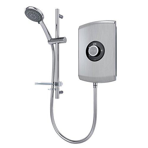 Triton Showers REAMO9BRSTL Amore Slender Electric Shower, Brushed Steel, 9.5 KW