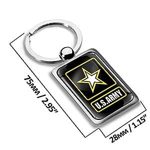 Biomar Labs 3D Metal US United States Military Army Flag Keyring Key Chain Gift Men Women Keychain Giftbox KK 258