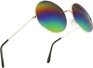 Large Vintage Round Rainbow Mirrored Sunglasses Oversize Hippie Circle Shades