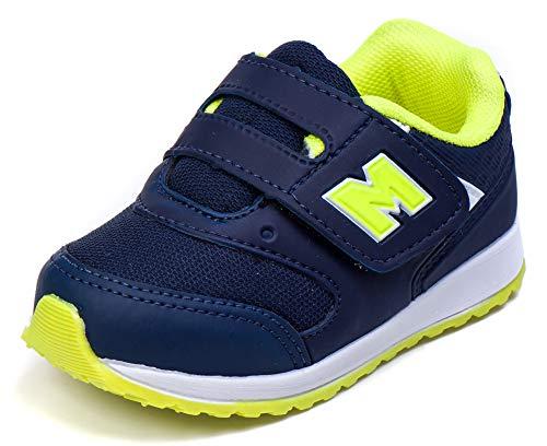 Tenis Infantil Masculino Calce Facil Bebê - AS163 Cor:Azul Marinho - Amarelo Limão;Tamanho:20