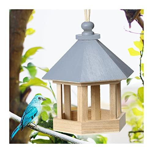 Ddcjc Alimentador De Pájaros De Madera Cuelga del Jardín Decoración del Jardín Hexágono con Forma con Techo Aves Al Aire Libre Nido De Madera Decoración De Madera (Color : Blue)