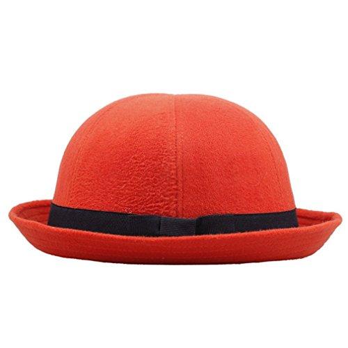 Toyobuy Chapeau Melon Panama en Laine avec Bowknot pour Femme Orange