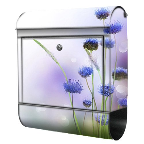 motivX-Ideenwerkstatt Briefkasten Kombi Wandbriefkasten mit Motiv Blaue Blumen
