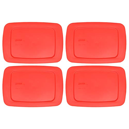 Pyrex C-213 1.5 Quart Red Easy Grab Storage Lid Cover - 4 Pack