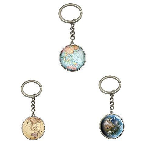PINGJING Schlüsselanhänger, Vintage-Globe, Auto-Zubehör, alte Weltkarte, Reise-Schlüsselanhänger Type Abc