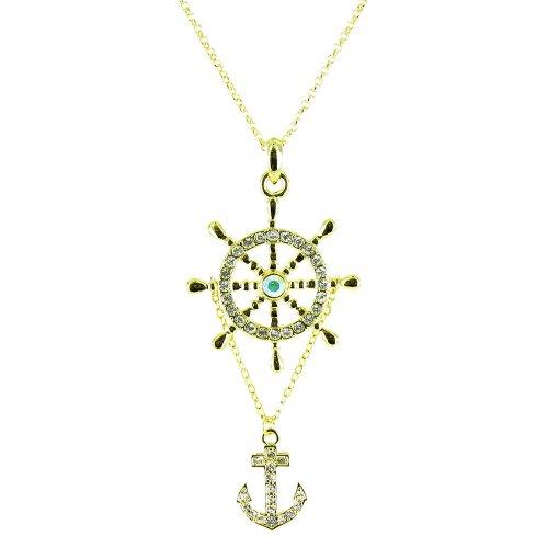Halskette mit Anker- und Bojen-Anhänger, vergoldet