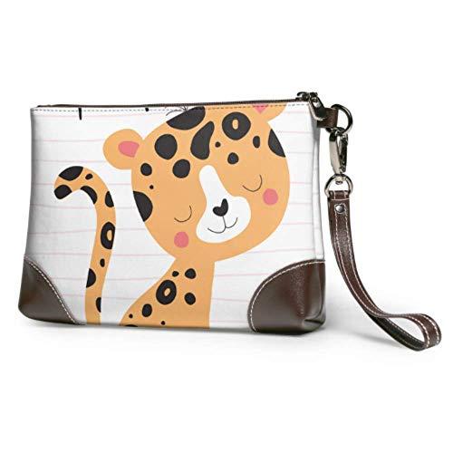 Pochette en cuir souple bracelet en cuir imperméable mignon léopard Animal Tshirt Design vecteur grand portefeuille d'embrayage avec fermeture à glissière pour femmes filles
