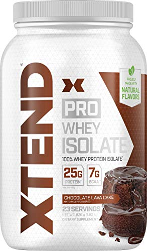 XTEND Pro Protein Powder Chocolate Lava Cake | 100% Whey Protein Isolate | Keto Friendly + 7g BCAAs with Natural Flavors | Gluten Free Low Fat Post Workout Drink | 1.8lbs