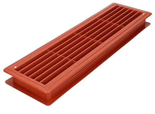 KOTARBAU® Rejilla de ventilación de 13,5 x 46 cm, rejilla de ventilación Calvados para puerta de plástico, rejilla de ventilación, rejilla de láminas rectangular, resistente
