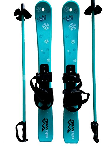 Kids First Plastic Snow Skis & Poles Age 2-4 with Bindings - Fun Beginer Skis 90cm