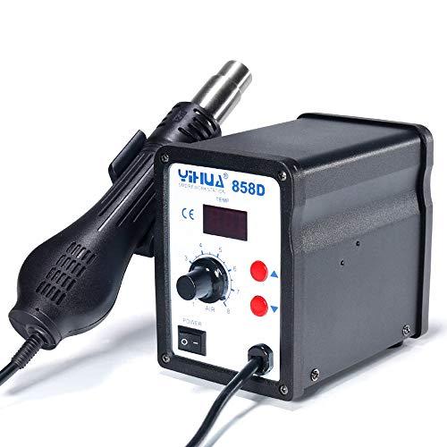 MMOBIEL Yihua 858D Lötkolben Heißluftpistole Rework SMD Station inkl 3 Düsen 100°C bis zu 500°C