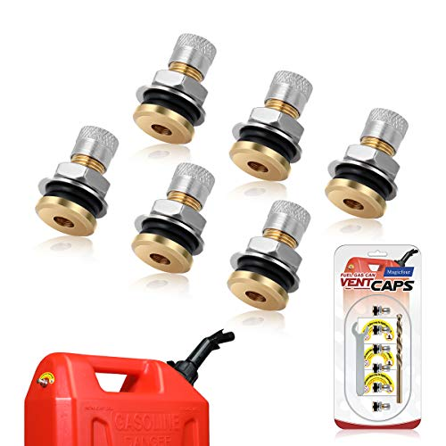 Magicfour Fuel Gas Can Vent Caps, 6 Pack Fuel Gas Tank Vent Caps Gas Can Replacement Vent Plug Gas Jug Vent Caps for Gas Fuel Water Can Jug to Allow Faster Flowing (Without Lanyard-Attached Cap)