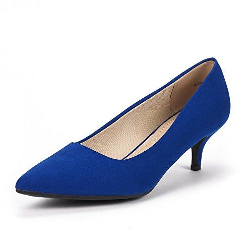 DREAM PAIRS Zapatillas de Tacón Stilettos Bajo para Mujer con Punta Estrecha Moda Azul Real Tamaño 6 M US