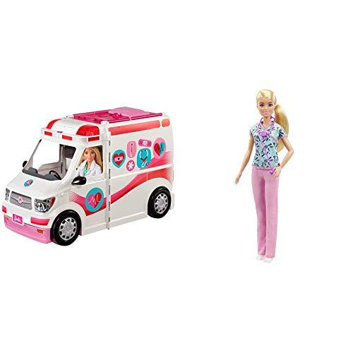Barbie FRM19 - 2-in-1 Krankenwagen, aufklappbares Fahrzeug mit Licht und Geräuschen, Puppen Spielset mit Zubehör, Mädchen Spielzeug ab 3 Jahren + Barbie GTW39 - Krankenschwester Puppe (ca. 30 cm)