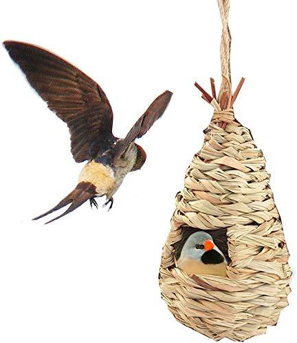 JKC Dachbeutel für Vögel, 3 Stück, handgewebt, eng und nicht leicht zu lösen, Nisttaschen, für Vögel, draußen, Gras, hängende Vogelhäuschen, Nistsäcke, Vogelhäuser für Garten