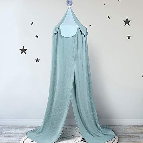 SONARIN Premium Cama con Dosel para Niños,100% Algodón,Decoración de la Habitación del bebé,mosquitera de algodón,Decoración de la Cama del Dormitorio, Altura 240 cm/94,5 pulgadas(Azul)