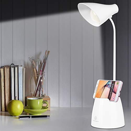 Nasharia LED Schreibtischlampe, USB Wiederaufladbare Leselampe, USB Tischlampe 3 Farb und 7 Helligkeitsstufen Dimmbar Tischleuchte mit Touchbedienung, Nachttischleuchte für Lesen, Studieren, Arbeiten