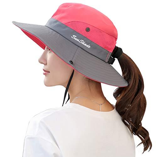 Muryobao Women's Sun Hat Outdoor UV Protection Foldable Mesh Bucket Hat Wide Brim Summer Beach Fishing Cap Watermelon Red