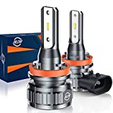 DR.CAR H11/H8/H9 LED Headlight Bulb, 300% Bright Low Beam Headlight Bulb Wireless All-in-One Conversion Kit, 6000k Cool White, Pack of 2