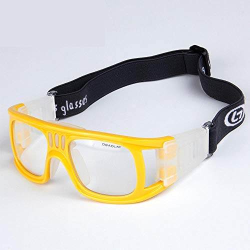 Aeromdale Sportbrillen Schutz Sicherheit Schutz Basketball Brille mit verstellbarem Gurt für Basketball Fußball Volleyball Hockey Fußball Eyewear Protector Unisex - Gelb - # 2