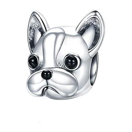 Charms Bead Bulldog, Donne Charm Pandora Gioielli Argento Placcato Puppy Dog Animal Bracciali Vintage Accessori per cani Miglior regalo