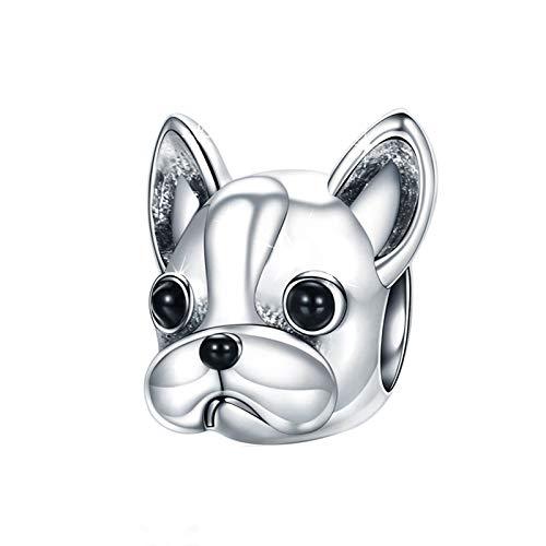 ENYU Charms Bead Bulldog, Mujer Charm Pandora Joyería de Plata Chapado Cachorro Perro Animal Vintage Pulseras Accesorios para Perros