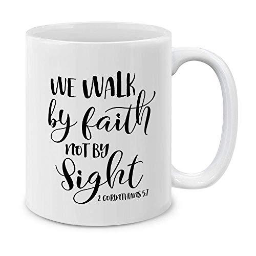 Taza de café de cerámica de Christian Bible 2 Corinthians 5:7, 11 onzas