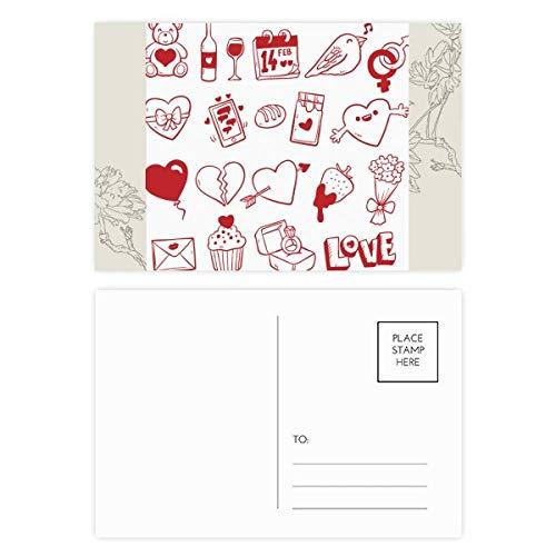 DIYthinker Valentinstag Wein-Liebe-Vogel-Herz-Blumen-Postkarten-Set dankt Karte Mailing Side 20pcs 5.7 Zoll x 3.8 Zoll Mehrfarbig