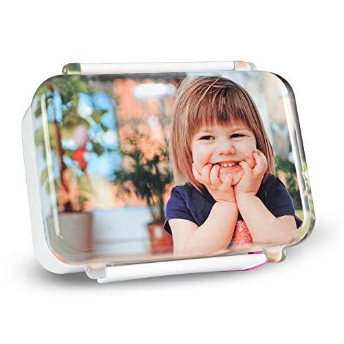 Isonio Brotdose, mit eigenem Foto und Text Bedruckt, hochwertige Ausführung, sicherer Verschluss, auslaufsicher (Weiss)