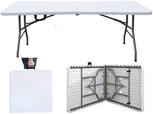 sogesfurniture Klapptisch Campingtisch Gartentisch Buffettisch Esstisch klappbar, mit Tragegriff aus Kunststoff, ideal für Camping, Garten, Buffets, BTH ca. 180x74x74cm, BHEU-HP-180CZ
