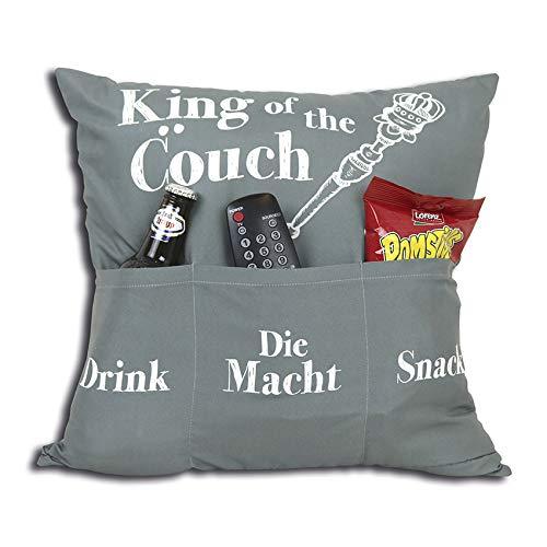 Kamaca Originelles Dekokissen Kissen mit 3 Taschen zum selber Befüllen Größe 43x43 cm tolles Geschenk für EIN gelungen Sofaabend Filmabend Öko Tex (King of The Couch)