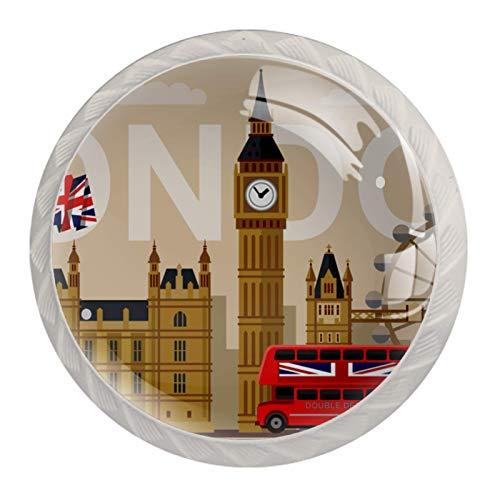 4 pomos de cristal para cajones y cajones con tornillos para el hogar, la oficina, el armario, los símbolos retro de Londres del Reino Unido