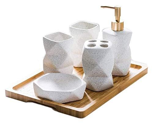 HLZY Dispensadores de jabón de encimera de baño, Dispensador de jabón 6 Piezas Impresionantes Accesorios de baño Conjunto Diseño geométrico Cerámica Cerámica Dispensador Dispensador Soap Plato