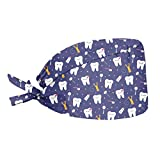 Upetstory Dental Hats for Women Girls Working Cleaning Cap with Adjustable Tie Sweatband Dentist Cute Tooth Toothpaste Print Working Caps Purple