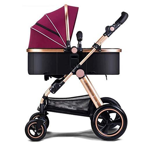 MAMINGBO Cochecito de bebé Cochecitos de niños plegables Sistema de viaje Cochecito de bebé plegable Cochecito de bebé infantil for recién nacidos y niños pequeños (Color : Rojo)