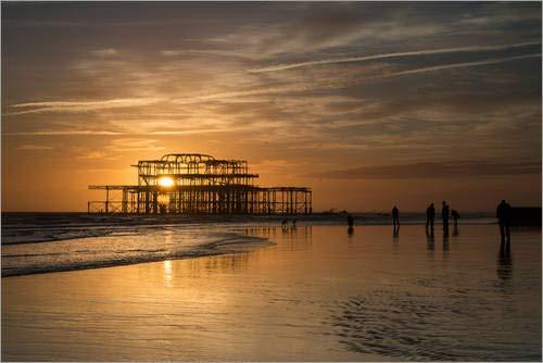 Lienzo 90 x 60 cm: Brighton West Pier Sunset de Simon West...
