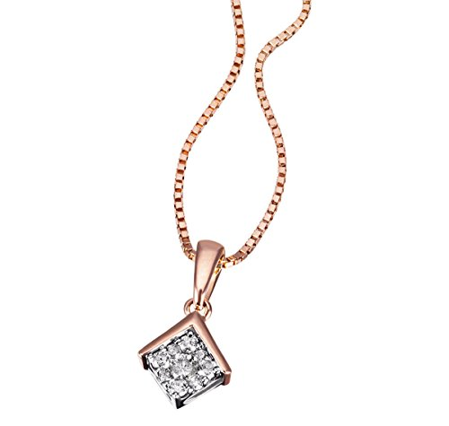 Goldmaid Damen-Halskette Glamour 585 Rotgold 9 Diamanten 0,10 ct. Kettenanhänger Brillanten Schmuck Diamantkette