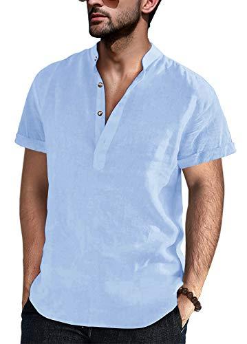 Baumwolle Leinenhemd Herren Hemd Kurzarm Freizeithemd Kragenlos Stehkragen Sommer Henley Shirts, Blau, L