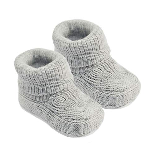 Angel Kid Baby Boys Girls Bootees 1 Pair Knitted Plain Booties NB-3 Months Approx S403 (Grey)