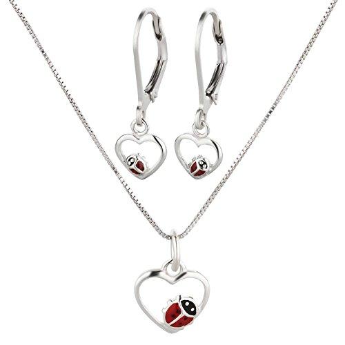 FIVE-D - Set composto da collana con ciondolo e orecchini, per bambini, con coccinella, in argento 925, in confezione regalo e Argento, colore: argento, cod. set230-V