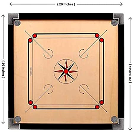 """Narang Enterprises Wooden Carrom Board with Coins, 1 Striker & Carrom Powder   20"""" Inches( Brown)"""