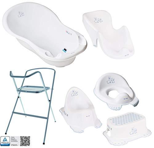 Baby Badewanne mit Gestell und Badewannensitz - Verschiedene Sets für Neugeborene mit Babybadewannen + Ständer +Abfluss + Badewannensitz + Töpfchen + Toilettentrainer + Hocker. Tüv Rheinland geprüft!