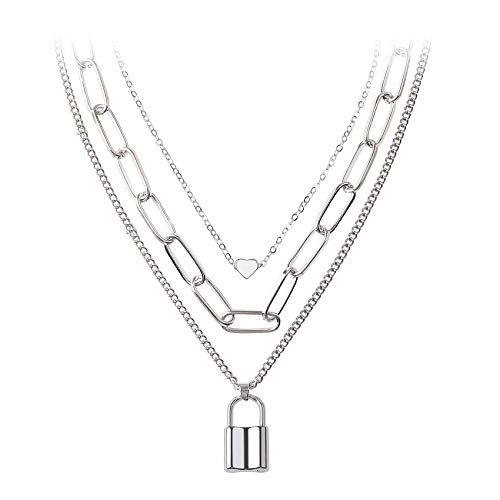 BVROSKI Chains Necklace for Eboy Egirl Men Male Emo Goth Women Teen Girls Boys,2 Layered Lock Key Pendants Necklaces Set,Stainless Steel Jewelry Pack for Pants Punk Play(BVN105 Silver)