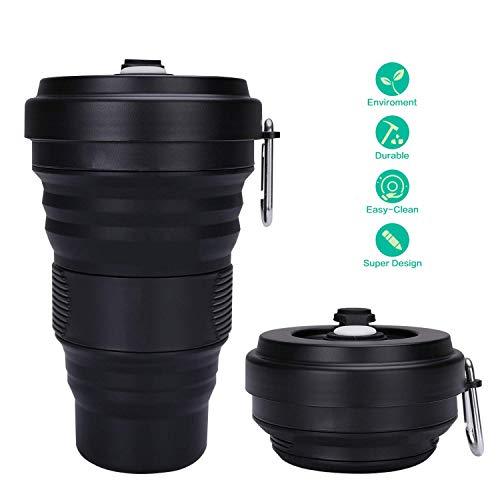 Bedas Verbesserte Faltbare Kaffeetasse, Wiederverwendbare, tragbare Reisebecher Leichte, Faltbare Kaffeetassen aus Silikon, auslaufsicher, 3 einstellbare Größen, 550 ml (schwarz)