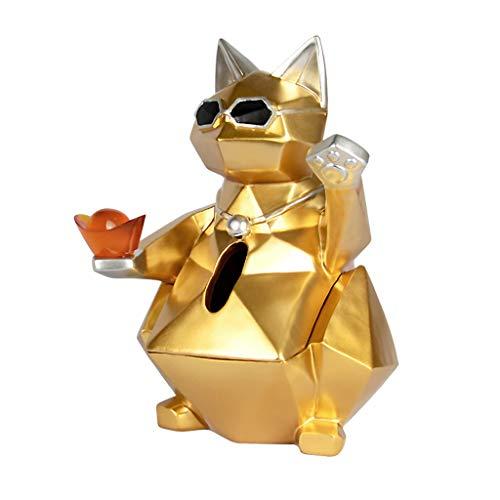 Hmy Lrxq Creatieve stoffen box in Europese stijl, gouden cat modelleerd, voor woonkamer, tissue box, papieren doekjesbox, keuken, huishouden, schattig eenvoudig