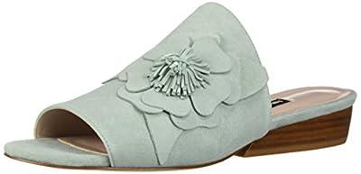 NINE WEST Women's Lucienne Slide Sandal, Light Green Suede, 8 Medium US