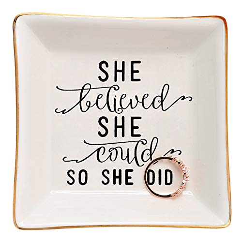 HOME SMILE Graduation Thank You Inspirational Birthday for Women Her Female Friends Ring Trinket Dish-She Believed She Could,So She Did