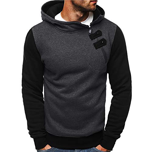 Hoodies For Men, Clearance Sale! Pervobs Men's Autumn Hoodies Long Sleeve Casual Zipper Buttons Hooded Sweatshirt (M, Dark Gray)